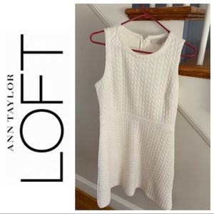 Loft Fit and Flare White Dress👗